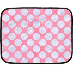Circles2 White Marble & Pink Watercolor Double Sided Fleece Blanket (mini)