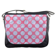 Circles2 White Marble & Pink Watercolor Messenger Bags
