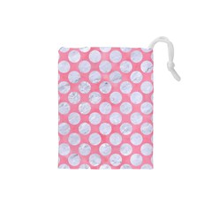 Circles2 White Marble & Pink Watercolor Drawstring Pouches (small)  by trendistuff