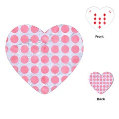 Circles1 White Marble & Pink Watercolor (r) Playing Cards (heart)