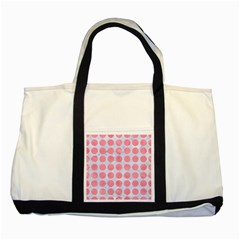 Circles1 White Marble & Pink Watercolor (r) Two Tone Tote Bag
