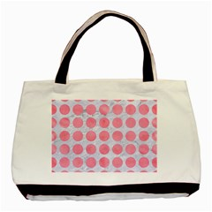 Circles1 White Marble & Pink Watercolor (r) Basic Tote Bag (two Sides)