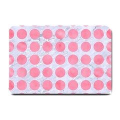 Circles1 White Marble & Pink Watercolor (r) Small Doormat  by trendistuff