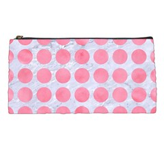 Circles1 White Marble & Pink Watercolor (r) Pencil Cases by trendistuff