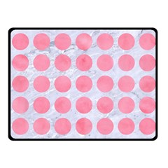 Circles1 White Marble & Pink Watercolor (r) Fleece Blanket (small)