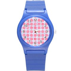 Circles1 White Marble & Pink Watercolor (r) Round Plastic Sport Watch (s) by trendistuff