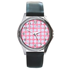 Circles1 White Marble & Pink Watercolor Round Metal Watch