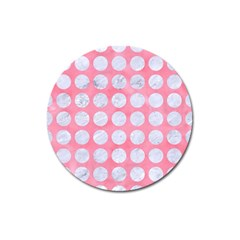 Circles1 White Marble & Pink Watercolor Magnet 3  (round)