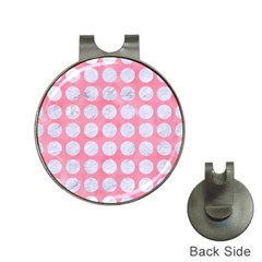 Circles1 White Marble & Pink Watercolor Hat Clips With Golf Markers