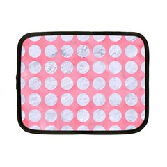 Circles1 White Marble & Pink Watercolor Netbook Case (small)