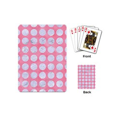 Circles1 White Marble & Pink Watercolor Playing Cards (mini)