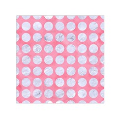 Circles1 White Marble & Pink Watercolor Small Satin Scarf (square)