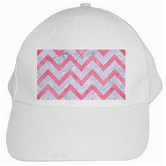 Chevron9 White Marble & Pink Watercolor (r) White Cap