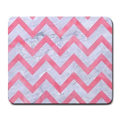 Chevron9 White Marble & Pink Watercolor (r) Large Mousepads