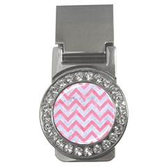 Chevron9 White Marble & Pink Watercolor (r) Money Clips (cz)