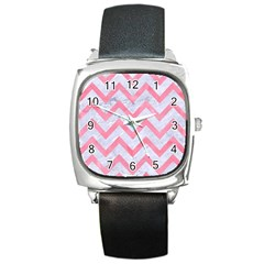 Chevron9 White Marble & Pink Watercolor (r) Square Metal Watch by trendistuff