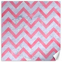 Chevron9 White Marble & Pink Watercolor (r) Canvas 12  X 12