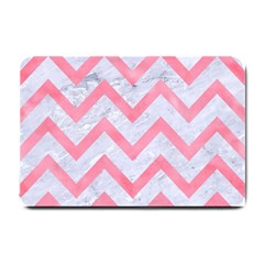 Chevron9 White Marble & Pink Watercolor (r) Small Doormat