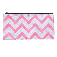Chevron9 White Marble & Pink Watercolor (r) Pencil Cases by trendistuff