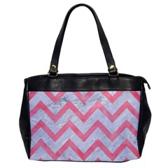 Chevron9 White Marble & Pink Watercolor (r) Office Handbags
