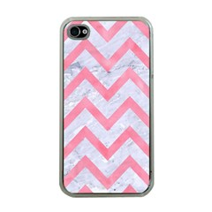 Chevron9 White Marble & Pink Watercolor (r) Apple Iphone 4 Case (clear)