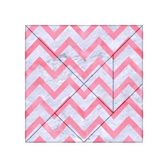 Chevron9 White Marble & Pink Watercolor (r) Acrylic Tangram Puzzle (4  X 4 )
