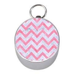 Chevron9 White Marble & Pink Watercolor (r) Mini Silver Compasses by trendistuff