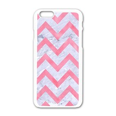 Chevron9 White Marble & Pink Watercolor (r) Apple Iphone 6/6s White Enamel Case