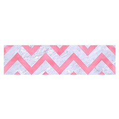 Chevron9 White Marble & Pink Watercolor (r) Satin Scarf (oblong)