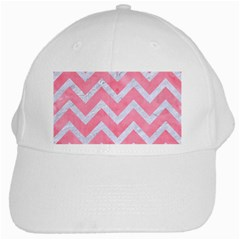 Chevron9 White Marble & Pink Watercolor White Cap