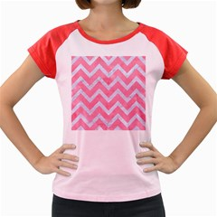 Chevron9 White Marble & Pink Watercolor Women s Cap Sleeve T Shirt