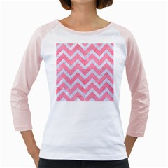 Chevron9 White Marble & Pink Watercolor Girly Raglans