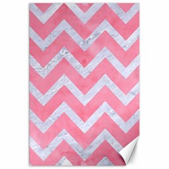 Chevron9 White Marble & Pink Watercolor Canvas 20  X 30