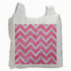 Chevron9 White Marble & Pink Watercolor Recycle Bag (two Side)