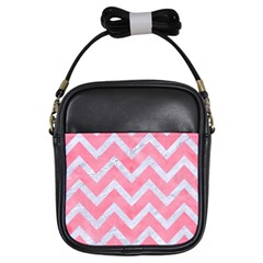 Chevron9 White Marble & Pink Watercolor Girls Sling Bags by trendistuff