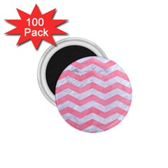 Chevron3 White Marble & Pink Watercolor 1 75  Magnets (100 Pack)