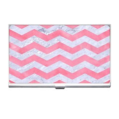 Chevron3 White Marble & Pink Watercolor Business Card Holders