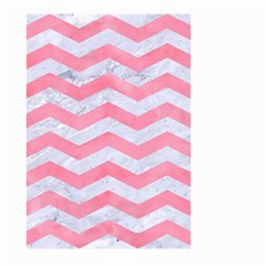 Chevron3 White Marble & Pink Watercolor Large Garden Flag (two Sides)