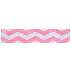 Chevron3 White Marble & Pink Watercolor Small Flano Scarf