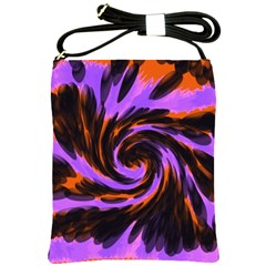 Swirl Black Purple Orange Shoulder Sling Bags