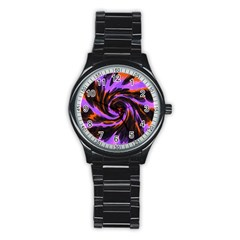 Swirl Black Purple Orange Stainless Steel Round Watch by BrightVibesDesign