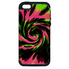 Swirl Black Pink Green Apple Iphone 5 Hardshell Case (pc+silicone) by BrightVibesDesign