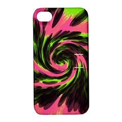 Swirl Black Pink Green Apple Iphone 4/4s Hardshell Case With Stand