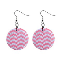 Chevron2 White Marble & Pink Watercolor Mini Button Earrings
