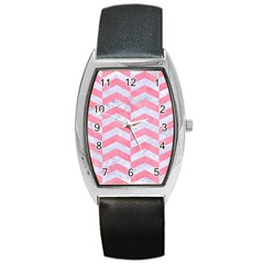 Chevron2 White Marble & Pink Watercolor Barrel Style Metal Watch