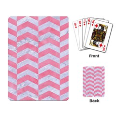 Chevron2 White Marble & Pink Watercolor Playing Card by trendistuff