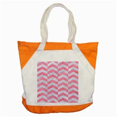 Chevron2 White Marble & Pink Watercolor Accent Tote Bag