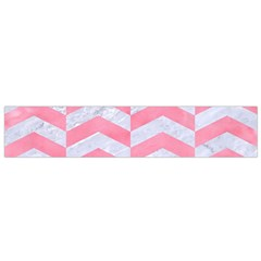 Chevron2 White Marble & Pink Watercolor Small Flano Scarf