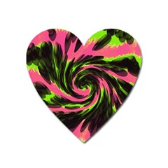 Swirl Black Pink Green Heart Magnet
