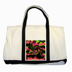 Swirl Black Pink Green Two Tone Tote Bag by BrightVibesDesign
